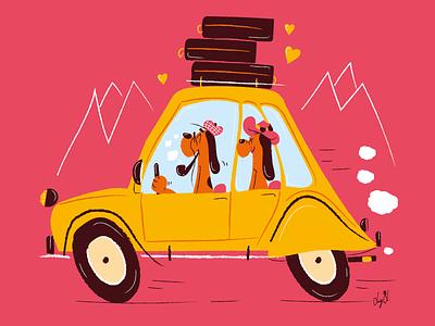 Let's go love! couple visual art animal art comics car cartoon character animal dog love