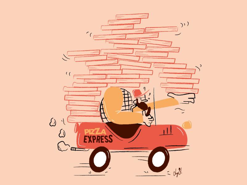Pizza Express art car picture pizza box food lovepizza pizza vector vintage comics character illustration