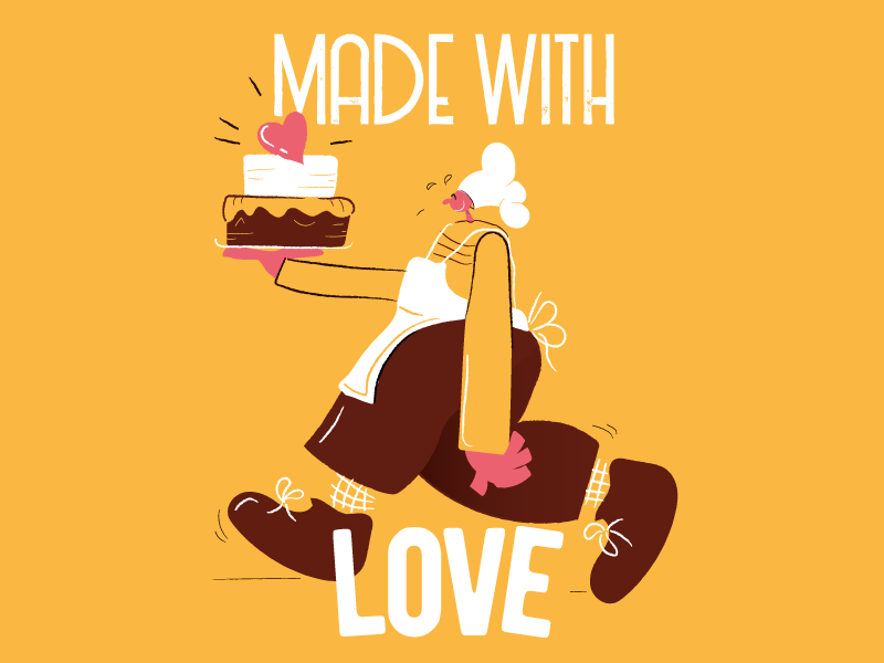Made with love picture poster cartoon comics character illustration art food vintage vector art vector cooking love cake sweet chef