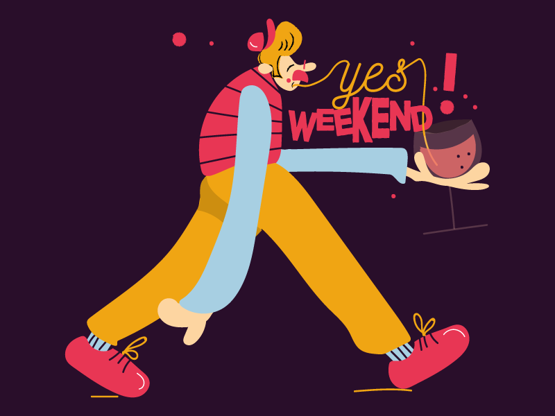 Yes weekend digitalart vector cartoon comics tipograpy font character art food art character food wine weekend