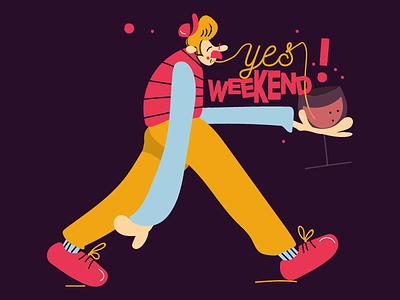 Yes weekend digitalart vector cartoon comics tipograpy font character art food art character food wine weekend