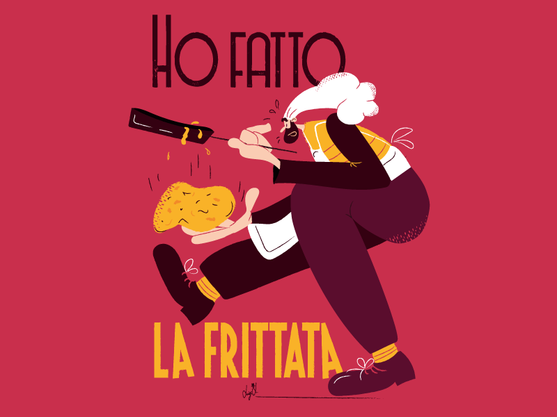 Ho fatto la frittata! cooking cookies restaurant chef visual art picture food illustration character comics vector