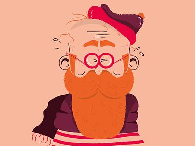 Orange beard hipster picture shapes vintage art cartoon vector portrait illustration crazy character orange portrait avatar beard