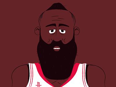 James Harden portrait basketball player beard hipster face illustration vector art vector houstorockets basket basketball nba harden jamesharden