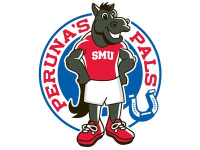 SMU's Peruna's Pals Logo ncaa sports smu horse illustration logo kids club red blue black horseshoe