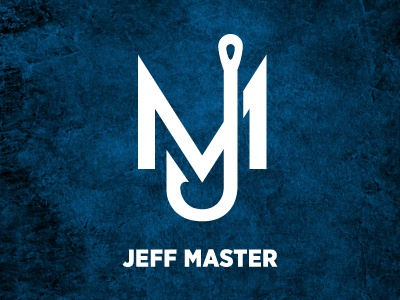 Jeff Master personal logo personal logo hook fishing jm blue