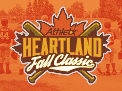 Heartland Fall Classic Logo baseball little league logo fall orange yellow brown bats