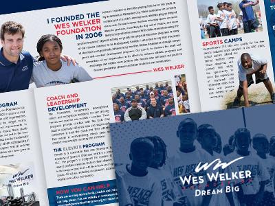 Wes Welker Foundation Brochure nfl football wes welker publication brochure booklet denver broncos