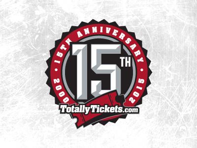 TotallyTickets.com 15th Anniversary Logo tickets sports entertainment circle bottle cap 15th anniversary