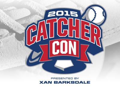 Catcher Con logo baseball sports catcher 2015 convention con plate flag