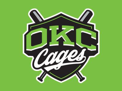 OKC Cages logo baseball sports okc oklahoma city batting cage shield bats