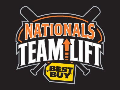 Nationals Team Lift logo baseball nationals sports team corporate sponsorship lift orange black