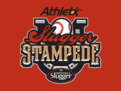 Slugger Stampede Logo baseball logo sports horseshoe slugger stampede little league tournament