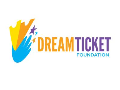 Dream Ticket Foundation logo ticket tickets dream hand stars foundation word mark