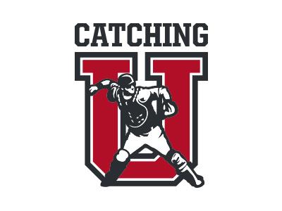 Catching University logo mlb baseball catcher catching university illustration navy red
