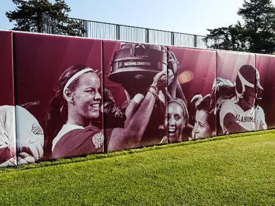 Oklahoma Softball Environmental Graphics oklahoma softball ncaa university environmental baseball outfield wall wrap vinyl