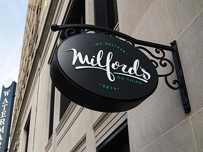 Milford's On Third Logo brunch baton rouge logo deli