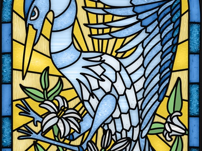 Blue Heron  Stained Glass Window