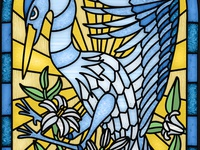 Blue Heron  Stained Glass Window illustraion bird stained stain heron blue glass window stained glass