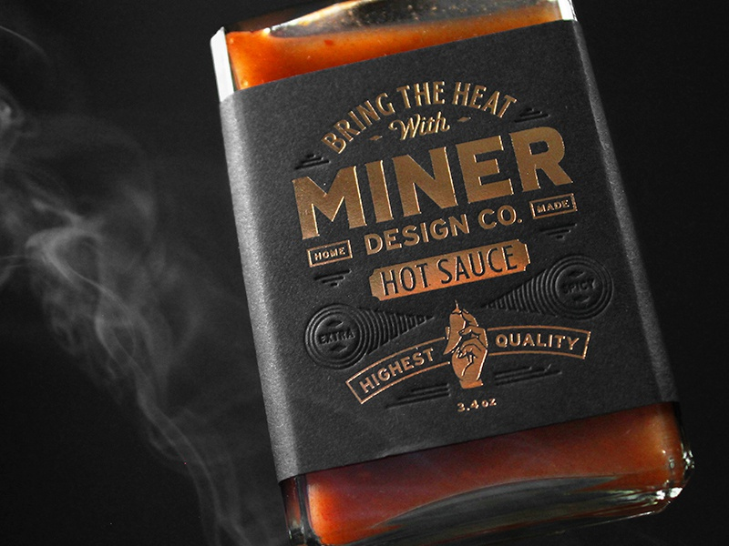 Miner Design Hot Sauce Label copper foil label packaging labeldesign packaging design packaging deboss design label hot sauce