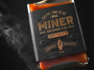 Miner Design Hot Sauce Label