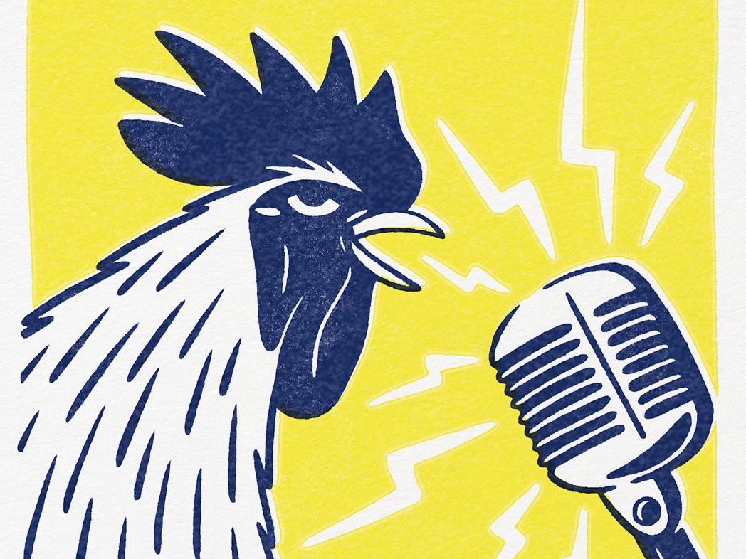 Livestock Rock vector bird illustration 2 color texture rock chicken rooster