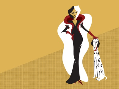 Cruella art deco cruella fur dalmatian digital illustration character design cruella devil
