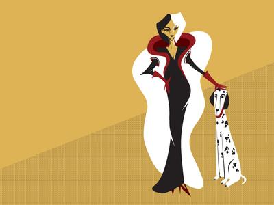 Cruella art deco cruella fur dalmatian digital illustration character design cruella devil