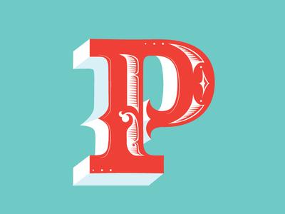 P p alphabet lettering victorian drop cap