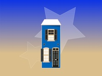Old Town town vector flat gradient home house illustration