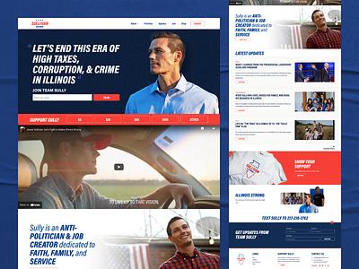 Jesse Sullivan for Governor web politics branding ui ux bold hero home campaign website design