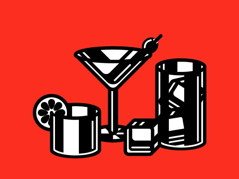 Liquor Glasses mid century modern black and white glitch modern minimal gin cocktail martini liquor illustration