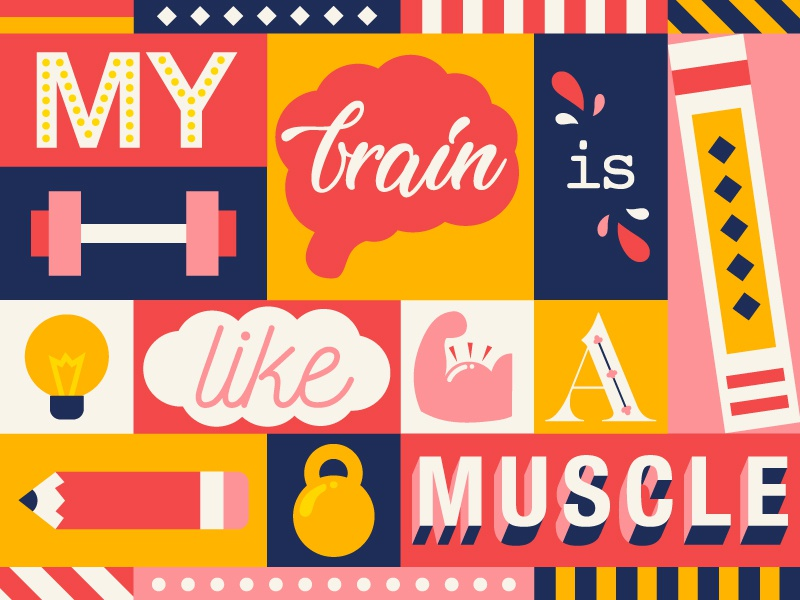 My Brain is Like a Muscle background typography lettering flatdesign illustration