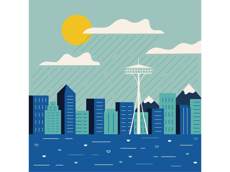 Seattle rain blue illustrator skyline flat  design seattle illustration