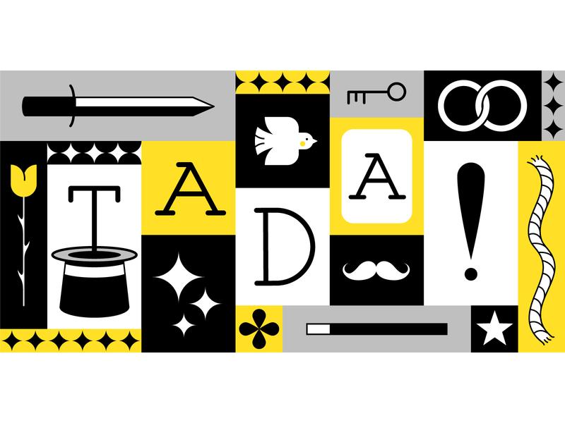 TA-DA! vector art graphic art adobe illustrator vector magician magic limited color palette grid minimal illustration