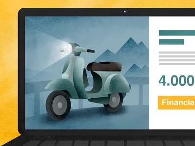 Laptop. Illustration for a video. motorbike moto vespa noise brushes laptop