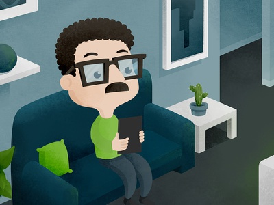 Buyer. Illustration for a video. home sofa ipad man