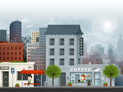 Scene. Illustration for a video. noise brushes business urban buildings bus coffe city scene