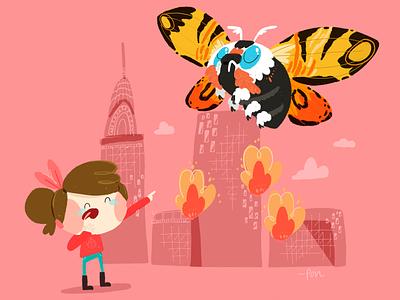 Mothra sketch love illustration drawing draw design cute comic color cartoon illustration cartoon character cartoon