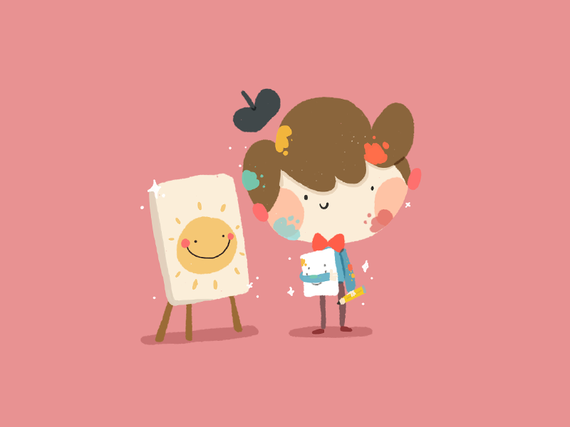 One cartoon doodle design character color cute illustration