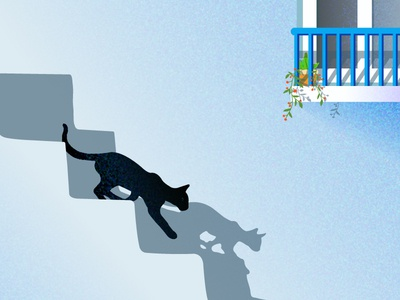 Cat Illustration balcony wall shadow sun noise light illustration graphic cat