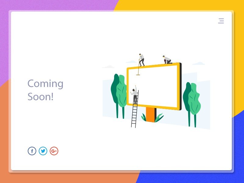 Coming soon page illustration template coming soon page web page ui