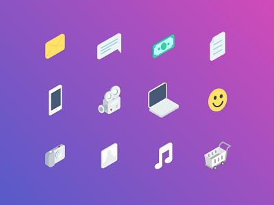 Isometric Icons isometric message laptop icon gradient icons