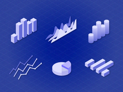 Daily UI Challenge 09 - Isometric Charts And Graphs ui  ux daily ui infographic elements histogram infographics bar chart pie chart illustration isometric stats statistics graph chart