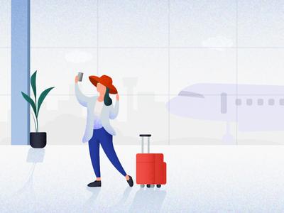 Daily UI Challenge 10 - Journey Illustration illustrations banner shadow ui selfie dailyui character flight girl airport travel journey illustration