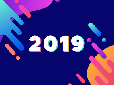 Daily UI Challenge 14 - New Year 2019 numbers dailyui modern illustrations colorful greeting happu new year celebrate end of year new year 2019 gradiant design illustration 2019