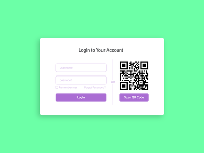 Daily UI Challenge 17 - Qr Scan scan daily ui web sign in ux ui qr code qr scan qr code login