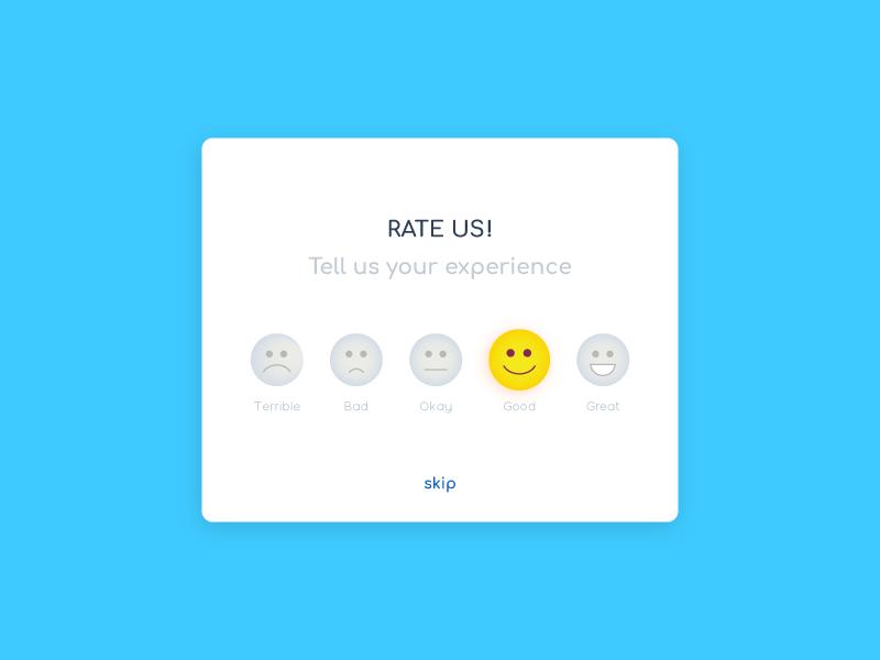 Daily UI Challenge 18 - Rate Us ux ui dailyui illustration vector web app feedback reactions emoticon rating rate emoji