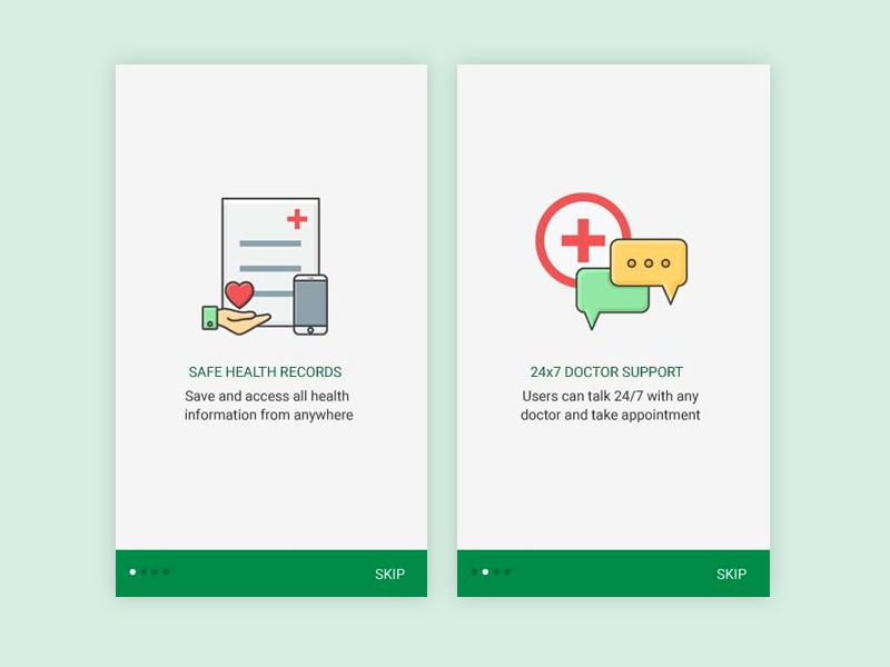 Onboarding Screens for a client app chat heart favorite mobile tour medical-icons illustrations onboarding