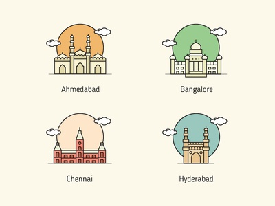 Indian Cities design vector india icon illustration monuments cities indian